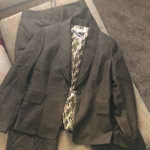 Tahari olive green suit pants and blazer